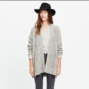 Madewell panelstitch marled open cardigan sweater